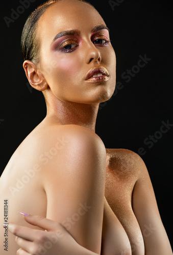 Gorgeous tanned brunette portrait - 241811344