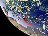 Orbit view of Greece at night with bright city lights. Very detailed plastic planet surface. - 241814312