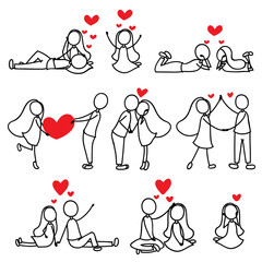 cartoon hand line drawing love character couple © jcomp