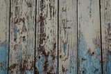 texture of wooden boards with cracked exfoliating old paint - 241816962