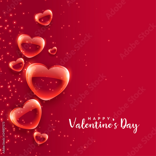 red bubble hearts floating valentines day background - 241817573