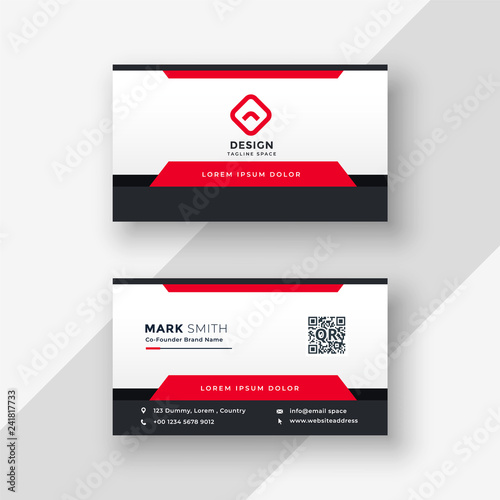 Poster professional red business card design
