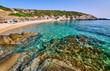 Quadro Beautiful beach and rocky coastline landscape in Greece
