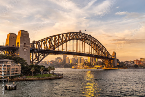Foto Murales View of Sydney harbor bridge at sunset