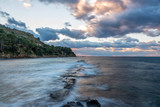 Long Exposure of the Mediterranean Coast of Southern Italy at Sunset