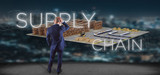Businessman in front of a Supply Chain title with a warehouse on background 3d rendering - 241828995
