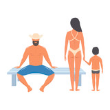 people in beach clothes. family on vacation, couple with the kid. vector
