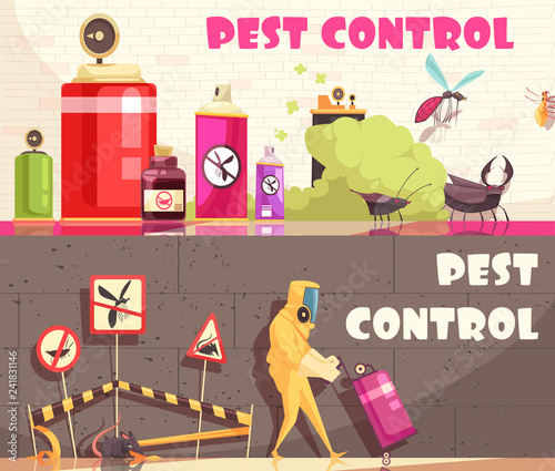 Pest Control Horizontal Banners © macrovector