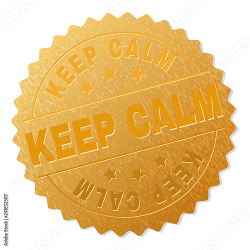 KEEP CALM gold stamp medallion. Vector golden medal with KEEP CALM text. Text labels are placed between parallel lines and on circle. Golden surface has metallic texture. - 241832587