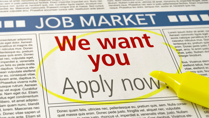 Job ad in a newspaper - We want you