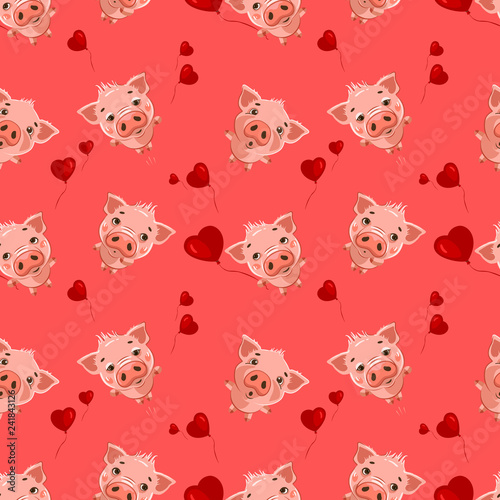 Seamless pattern with cute little emoji pigs and a hearts. Vector seamless pattern for Valentine's Day.
