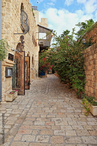 narrow street in old town - 241849992