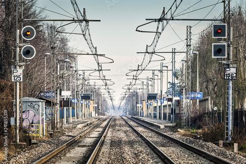 Frontal train station empty