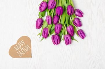 Ostern Tulpen Karte Grußkarte Textfreiraum Strauß Blumenstrauß Strauss lila Happy Easter