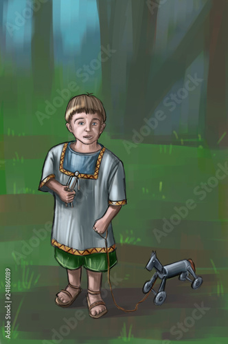 Concept art fantasy digital painting or illustration of small boy with wooden toy horse.