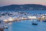 beautiful twilight over Mykonos town  Mykonos island,  Cyclades archipelago,  Greece - 241862382