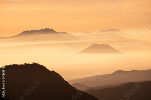 foggy and mountain , twilight time show colorful of light - 241863314