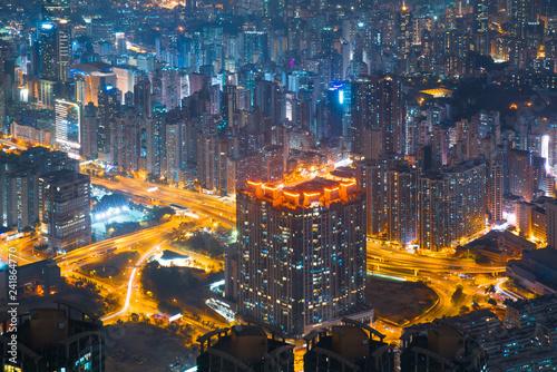 Hong Kong skyline view from Sky 100 observation deck,