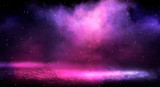 Background of empty room with spotlights and lights, abstract purple background with neon glow - 241869964