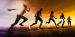 Leinwanddruck Bild - Fitness Training Together 3D Model Render