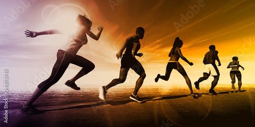 Leinwanddruck Bild Fitness Training Together 3D Model Render