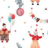 Watercolor circus vector pattern - 241877138