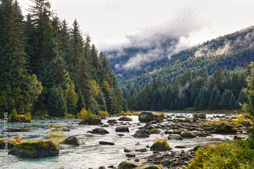 Haines, Chilkoot river in autumn, fall, Alaska, USA