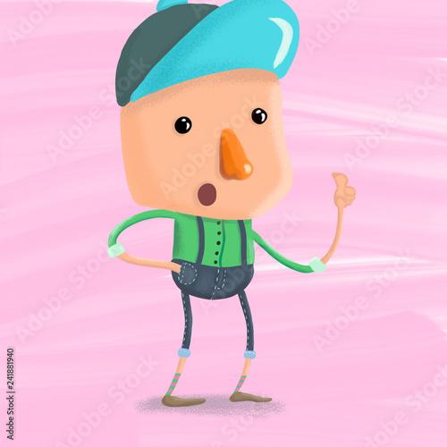 Niño gorra azul y nariz roja - 241881940
