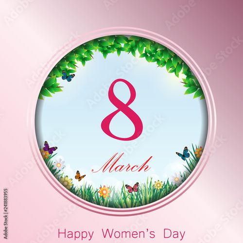 Happy women's day greeting card. Vector design poster of 8 March day.