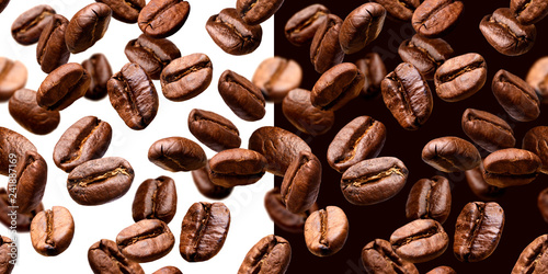 Coffee beans seamless pattern, isolated on white and black background - 241887169