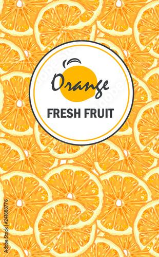 Banner with sliced orange pieces, leaves. Template for design juice, lemonade, cosmetic, natural medicine, herbal tea, food menu.