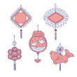 Chinese New year traditional money talismans. Vector line art set for holiday home decoration national celebration symbols of China culture.