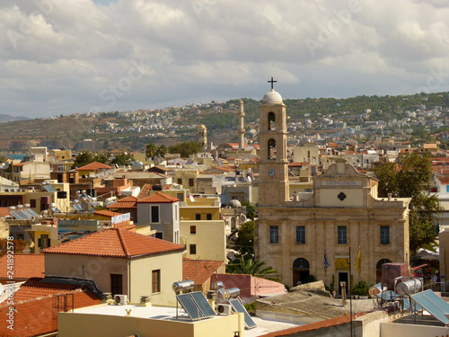 View of the church from the high bell tower and the house of Chania