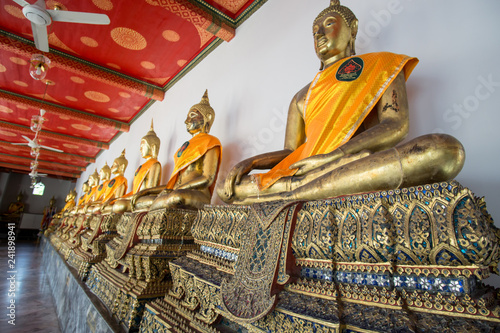 golden Buddha statue from Wat pho Themple in Bangkok, Thailand