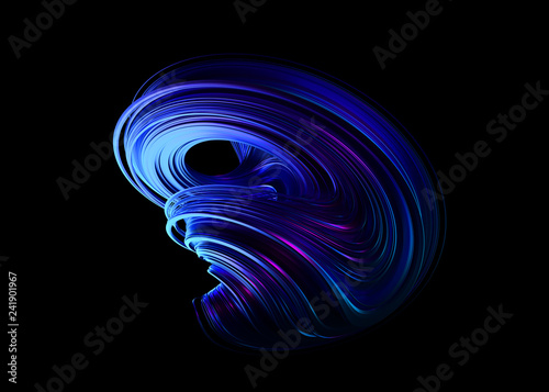 Abstract 3d rendering, twisted shape, modern illustration, background design