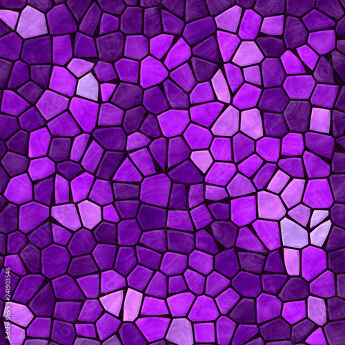 abstract nature marble plastic stony mosaic tiles texture background with black grout - vibrant purple violet mauve fuchsia, orchid, rasberry colors - 241903546