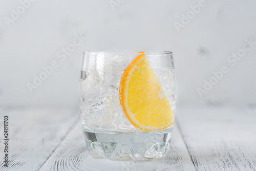 Glass of gin and tonic