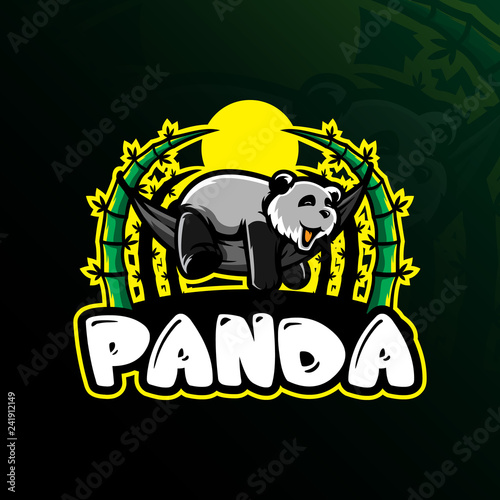 panda mascot logo design vector with modern illustration concept style for badge, emblem and tshirt printing. sleep panda illustration.
