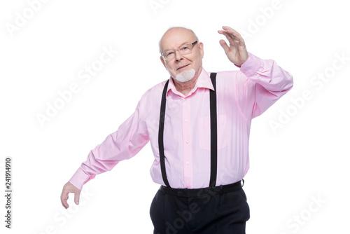 Foto Murales joyful excited old man