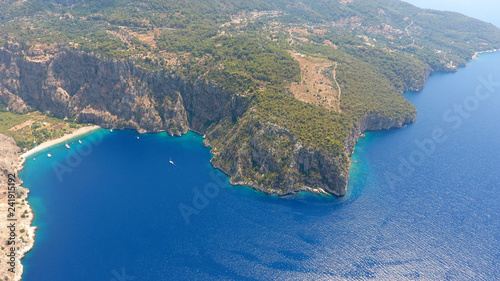The Butterfly Valley (kelebekler vadisi) in the city of Oludeniz/Fethiye in western Turkey. You can only reach this valley by boat or rock climbing - 241915192