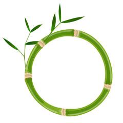 Green bamboo circle frame © ayax