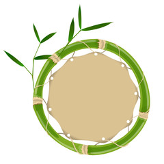 Green bamboo circle frame © ayax