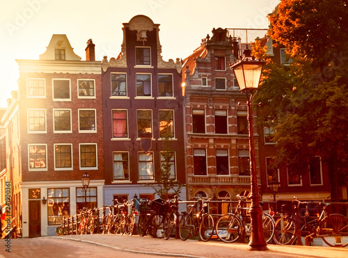 Typical houses and bridge in Amsterdam, Netherlands