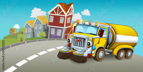 cartoon summer scene with cleaning car driving through the city - illustration for children - 241922922