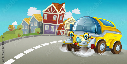cartoon summer scene with cleaning car driving through the city - illustration for children - 241924700