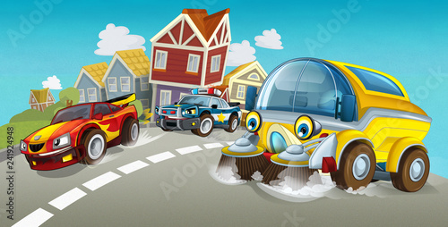 cartoon summer scene with cleaning cistern car driving through the city and police chase with sports car driving near - illustration for children - 241924948