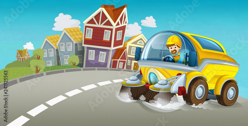 cartoon summer scene with cleaning car driving through the city - illustration for children - 241925563
