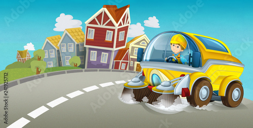 cartoon summer scene with cleaning car driving through the city - illustration for children - 241925712
