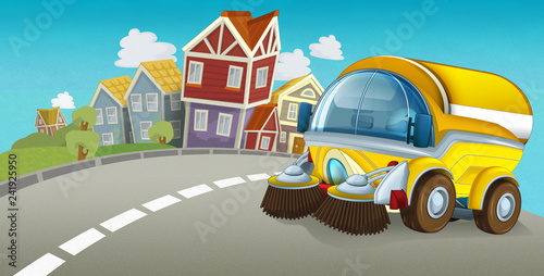 cartoon summer scene with cleaning car driving through the city - illustration for children - 241925950