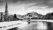 Leinwanddruck Bild - Classic view of Salzburg at Christmas time in winter, Austria